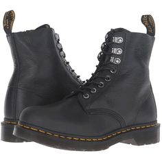 Dr. Martens Pascal PM 8-Eye Boot (Graphite Grey Naturesse) Women's... (495 RON) ❤ liked on Polyvore featuring shoes, boots, black, black laced shoes, gray boots, slip resistant boots, gray lace up boots and black leather shoes