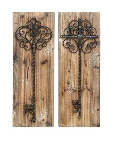 Antiqued Scrollwork Skeleton Wood Key Door Wall Art Plaque Set of 2 Medieval
