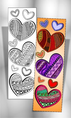 4 Coloring Bookmarks with Abstract designs plus 2 colored items #bookmarks #coloring #hearts