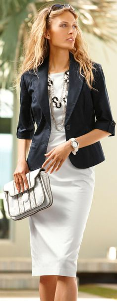 Great dress with blazer to transition in to spring. Love the necklaces!
