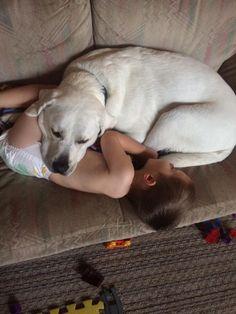 Com abraços de cão menino autista supera pesadelos e dorme bem