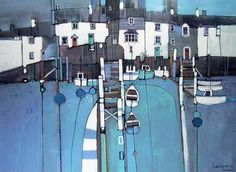 Martin Procter Tides Reach - i like the doodle-ness to this piece. Abstract Landscape, Landscape Paintings, Abstract Art, Landscapes, Building Art, Paintings I Love, Naive Art, Landscape Illustration, Watercolor Art