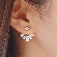 Coréenne or et argent plaqué laisser cristal Stud boucles d'oreilles mode déclaration bijoux boucles d'oreilles pour les femmes livraison gratuite