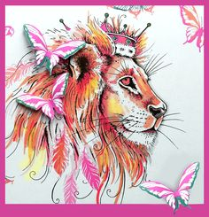 Lion stamp with bonus fabric Watercolor Fabric, Watercolor Cards, Fabric Painting, Doodle Drawings, 3d Drawings, Big Cats Art, Animal Doodles, Lavinia Stamps, Art Impressions