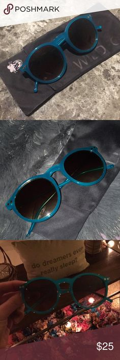 Wildfox Sunglasses Two silver stars ✨ on each side of these teal colored foxes 💕💕 It comes with the cleaning cloth which happens to be the bag as well 💁🏼 Please don't hesitate to ask any questions 🛍 Wildfox Accessories Sunglasses