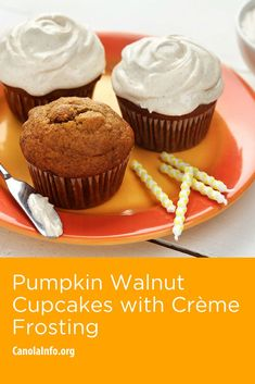 Rich and creamy frosting tops these lightly spiced cupcakes, which are perfect for any fall gathering. Baked Pumpkin, Pumpkin Recipes, Baking Recipes, Dessert Recipes, Desserts, How To Make Frosting, Marshmallow Cream, Cinnamon Cream Cheeses, Oven Racks