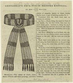 Gentleman'S Neck-Tye In Brioche Knitting. Cable Knitting, Vintage Knitting, Modern Crochet Patterns, Knitting Patterns, Retro Flowers, Vintage Accessories, Crochet Projects, Needlework, Knit Crochet