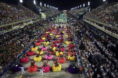 Members of the samba group Uniao da Ilha created a spectacular collage of colourful flower...