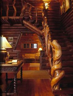 Log home stairway! THIS IS ABSOLUTELY BREATHTAKING!! LOVE LOVE LOVE!!!! Lodgepole pine. Miller Architects, Bozeman, Montana