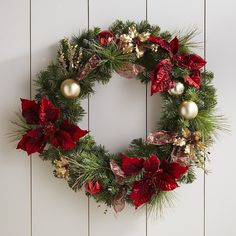 "Faux Poinsettia Wreath - Royal Red 26"""