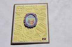 Easter Card Embossed Yellow Purple by RoyalRegards on Etsy, $3.25