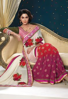 Gorgeous Saree! Pink And Off White #Georgette And #Viscos Saree With Blouse.  INR:-7270 With Exciting Discount 25 %!