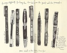 A drawing of some of the pens that Andrea Joseph used in her sketchbook last year.  (by andrea joseph's illustrations. Link thanks to The Pen Addict.)