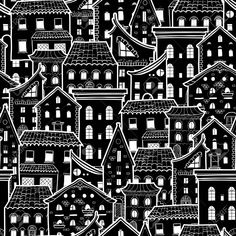 Dark seamless pattern with houses, doodle house vector background, monochrome house wallpaper, good for design fabric, wrapping paper, postcards, EPS 8 Stock Vector - 69807761