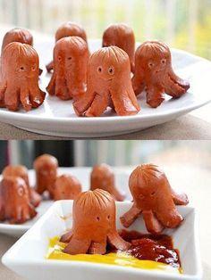 Make little octopus hot dogs plus 15 genius hot dog hacks! - Make little octopus hot dogs plus 15 genius hot dog hacks! Make little octopus hot dogs plus 15 genius hot dog hacks! Toddler Meals, Kids Meals, Kids Fun Foods, Fun Snacks For Kids, Kid Food Fun, Fun Recipes For Kids, Kids Meal Ideas, Kids Dinner Ideas, Children Recipes