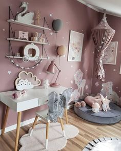 Pastel Girls Room, Pink Gray Bedroom, Little Girl Bedrooms, Newborn Room, Girls Room Design, Baby Room Decor, Girl Room, Kids Bedroom, Room Inspiration