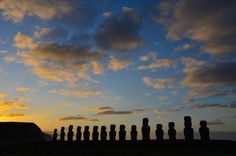 Pääsiäissaari, Easter Island, moais - All pages by Annu Easter Island, South America, Ticket, Lily, Clouds, Celestial, Sunset, Outdoor, Sunsets