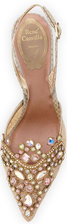 Rene Caovilla Jeweled Lace & Watersnake Pump