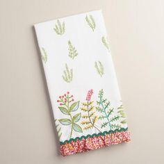 One of my favorite discoveries at WorldMarket.com: Embroidered Botanicals Kitchen  Towel