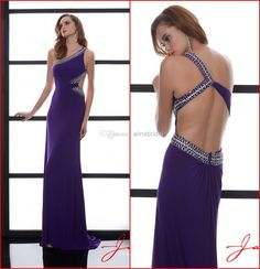 Wholesale Prom Dresses - Buy 2014 Purple Prom Dresses One Shoulder Sexy Cutout Back Sheath Long Sweep Train Beaded Sequins Evening Party Gowns Jasz Couture New AP-202, $119.32 | DHgate