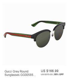 668aa4a4d35 Gucci Grey Round Sunglasses GG0058SK 002 55.