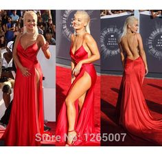 Rita Ora Spaghetti Traps Sweetheart High Slit Red Satin A Line Open Back Sexy Celebrity Dresses Special Occasion Gowns Celebrity Inspired Dresses, Celebrity Dresses, Prom Dresses, Formal Dresses, Formal Wear, Gown Pictures, Celebrity Red Carpet, Dress Picture, Rita Ora