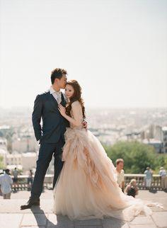 Chic Paris Engagement Shoot Featuring Two Stunning Vera Wang Wedding Dresses / Aneta Mak Photography