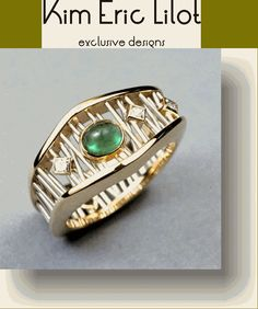 Kim Eric Lilot: Platinum wire Web Ring, Emerald and Diamonds....
