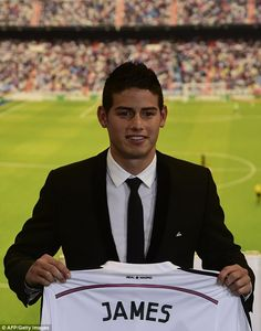 Signed: James Rodriguez was unveiled as a Real Madrid player on Tuesday at the Santiago Bernabeu.