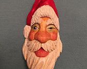 Hand Carved Winking Santa Claus Tree Ornament Wood Carving Handmade Tree Trimmer Christmas Decoration Christmas Gift