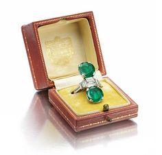 CARTIER - An Art Deco Emerald and Diamond Ring, circa 1920.
