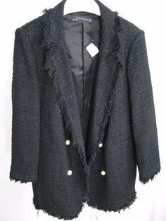 NWT ZARA Tweed Jacket with Faux Pearl Button Blazer  Size L Ref.8366/701 #ZARA #Blazer #Casual Zara Blazer, Zara Jackets, Blazer Buttons, Tweed Jacket, Pearls, Clothes For Women, Best Deals, Coat, Casual