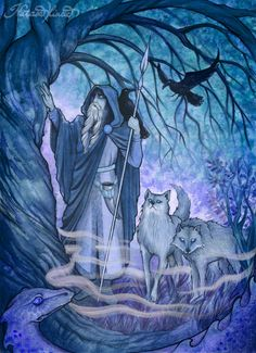 """blue-ice-veins: """"  Odin before his sacrifice (night version) by UnripeHamadryad """""""