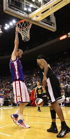 """No-jump dunk: At 7ft 8, Brit ace Paul """"Tiny"""" #Sturgess is officially the #tallest pro #basketball player in the world."""