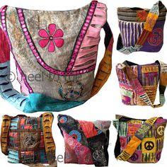 NEW LARGE HIPPY SHOULDER BAG SLING Multi Coloured Patchwork Boho Ethnic Hippie