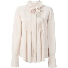 Chloé Albaster Bow Detail Shirt found on Polyvore featuring tops, off white, bow collar shirt, bow shirt, bell sleeve top, long sleeve collared shirt and long sleeve shirts