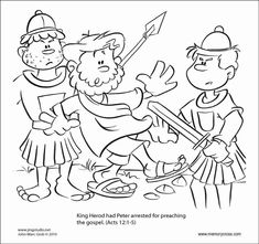 Free Coloring Pages of Peter In Jail With The Angel of The