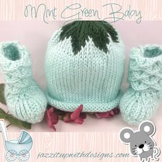 Hand knit baby booties and hat 3-6 mos soft green caron simply soft