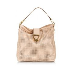 3a99d44bbb6 Coccinelle - Nude soft perforated leather hobo shoulder bag ( 450) ❤ liked  on Polyvore featuring bags, handbags, shoulder bags, nude, hobo handbags,  ...