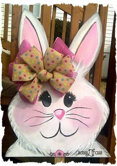 Sassy Easter Bunny Wood Door Hanger  or Sassy Easter Rabbit Yard Art