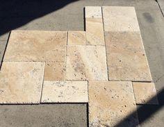 Byzantine Travertine Brushed & Chiseled Versailles Pattern Floor Travertine Tile Backsplash, Travertine Floors, Stone Flooring, Floor Patterns, Tile Patterns, Versailles Pattern, Tile Layout, Tile Stores, Outdoor Tiles