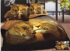Modna pościel beżowa do pokoju z lwami