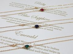 Gemstone Necklaces: Choose Gemstone Connectors in Emerald, Sapphire, Ruby in 14 K Gold Fill