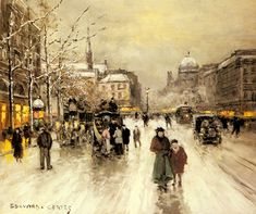 "Édouard Leon Cortès (1882–1969) was a French post-impressionist artist of French and Spanishancestry. He is known as ""Le Poete Parisien de la Peinture"" or ""the Parisian Poet of Painting"" because of his diverse Paris cityscapes in a variety of weather and night settings"