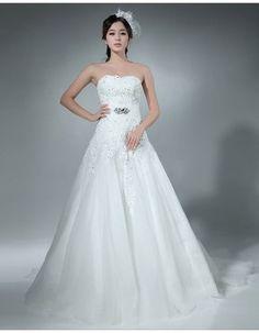 Small sweetheart net wedding dress with rhinestones belt embillishment ,floor length .