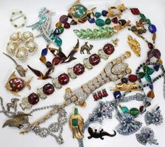 Vintage 20c Jeweled Costume Jewelry Lot incl Silver, Dogs, Horses, Leopard in Jewelry & Watches, Vintage & Antique Jewelry, Costume, Retro, Vintage 1930s-1980s, Collections, Lots   eBay