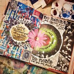 Idea of facing pages relating in an art journal - this is by Jenndalyn Art