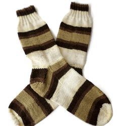 Socks  Hand Knit Mens Striped Acrylic Socks  Size by PointedNeedle