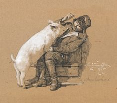 Denis Korobkov. Toned Paper, Figure Drawing, Lion Sculpture, Statue, Fine Art, Drawings, Illustration, Painting, Painting Art