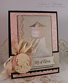 Wedding card designed by Sharon Johns using Elegant Fronds Background Stamp, New JustRite Custom Die -Vintage Labels and Banners!